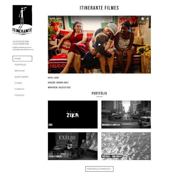 Uma captura de tela do site da produtora Itinerante Filmes, desenvolvido pela Haste.