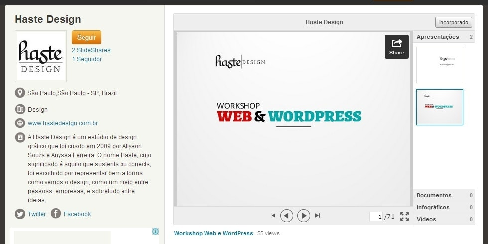 Slideshare da Haste Design