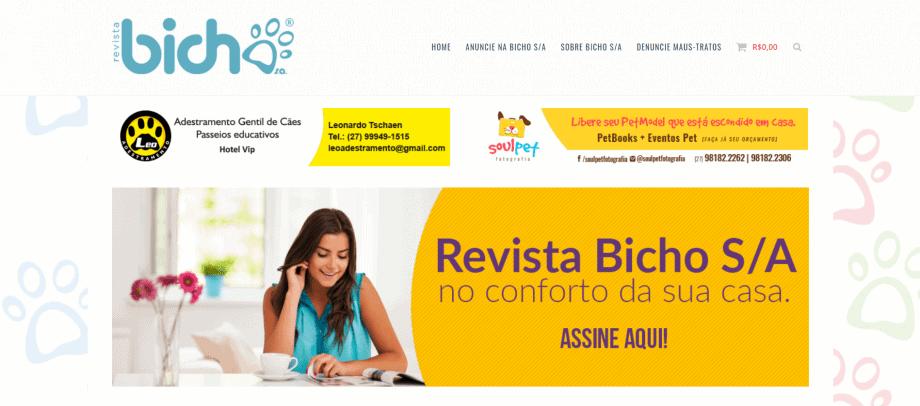 Captura da tela inicial do site da Bichos S/A, loja feita com WooCommerce.