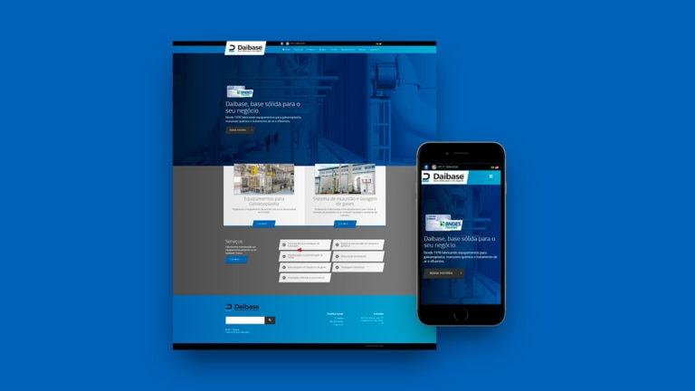 Captura de tela do site da Daibase em um fundo azul.