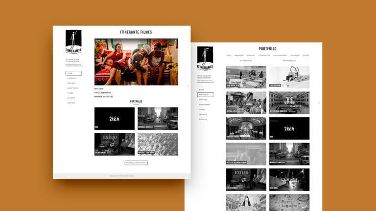 Duas capturas de tela do site da Intinerante Filmes em um fundo marrom claro.