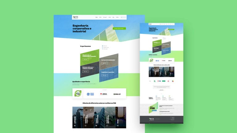 Captura de tela do site da FDB em um fundo verde claro.