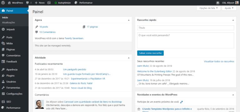Captura de tela do painel do WordPress.