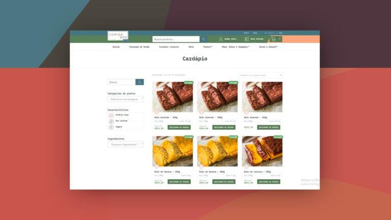 Captura de tela do site da Comida Boa em um fundo com estampa geométrica.
