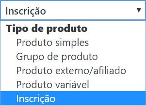 Opções para a categoria tipo de produto.