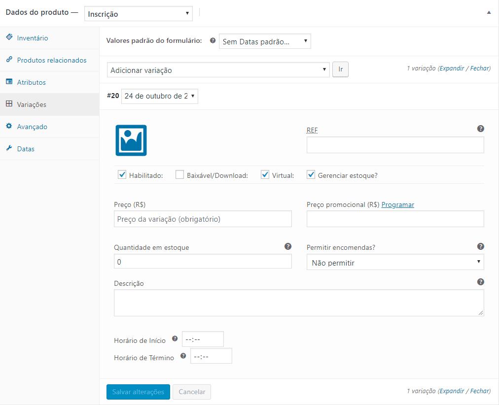 Captura de tela da aba de variações do Produto no WooCommerce com o plugin Registrations for WooCommerce instalado.