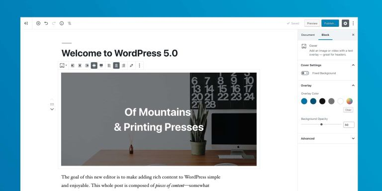 Interface do Gutenberg, imagem do release da versão 5.0 do WordPress