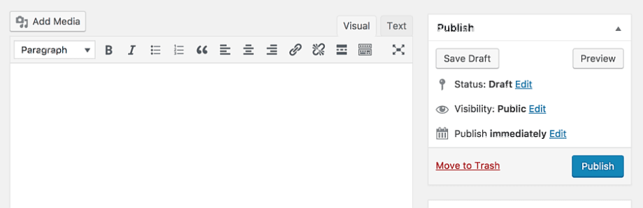 Imagem mostrando o editor clássico do WordPress