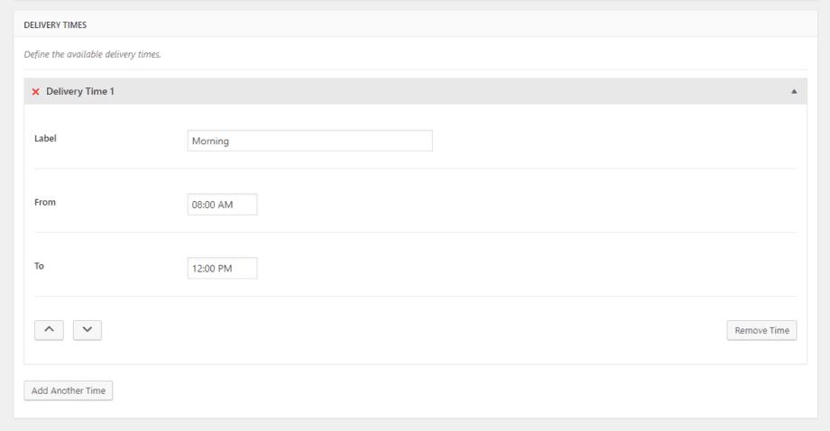 Captura de tela dos horários de entrega do plugin Delivery Date System for WooCommerce.