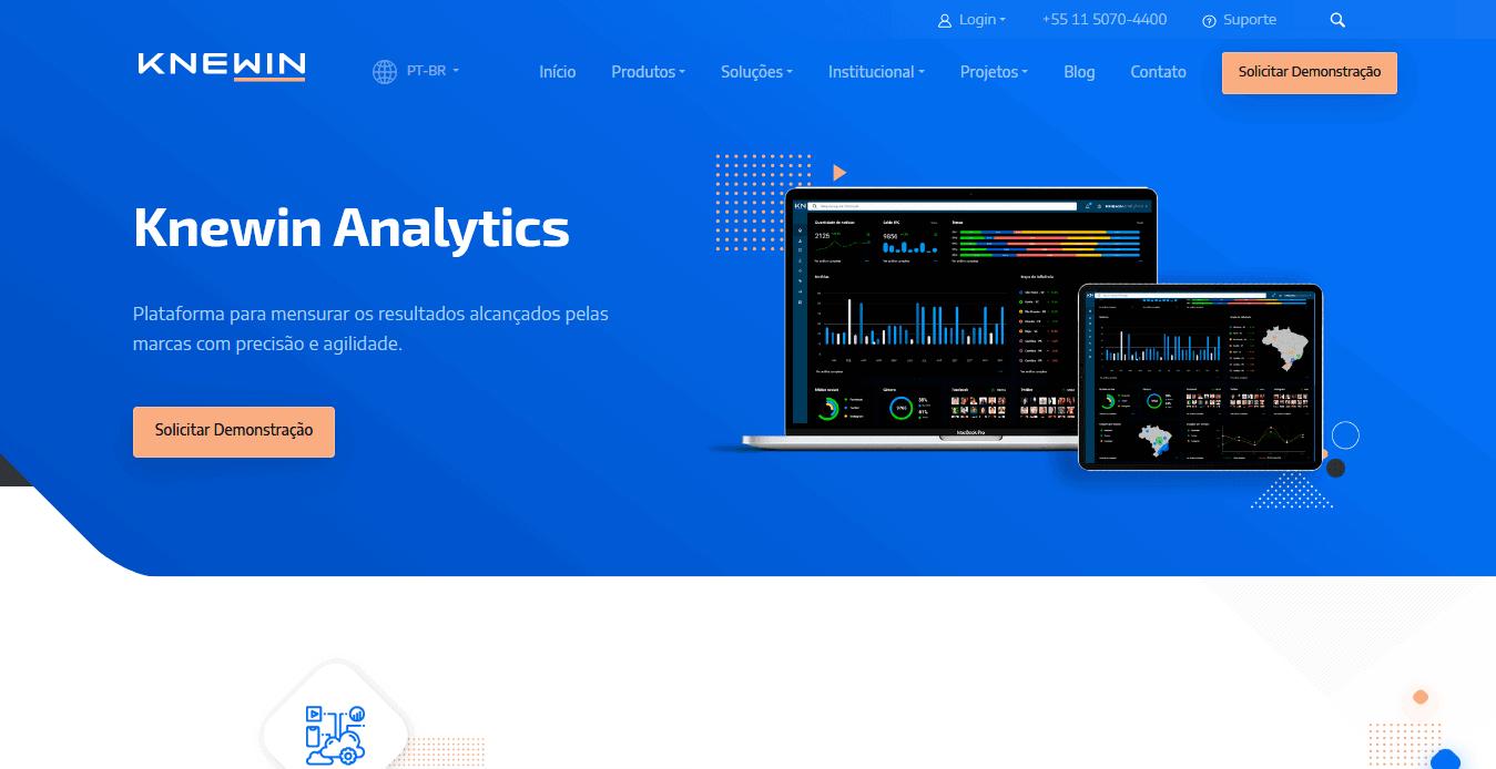 Captura de tela da página do serviço de analytics no site da Knewin.