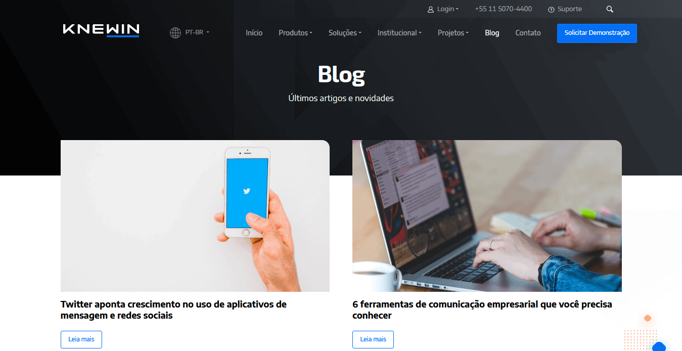 Captura de tela do blog da Knewin.