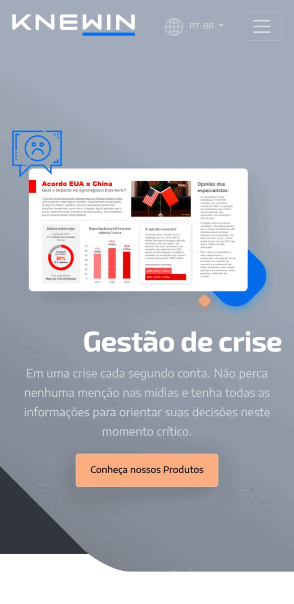 Captura de tela em formato mobile da página do serviço de gestão de crises no site da Knewin.
