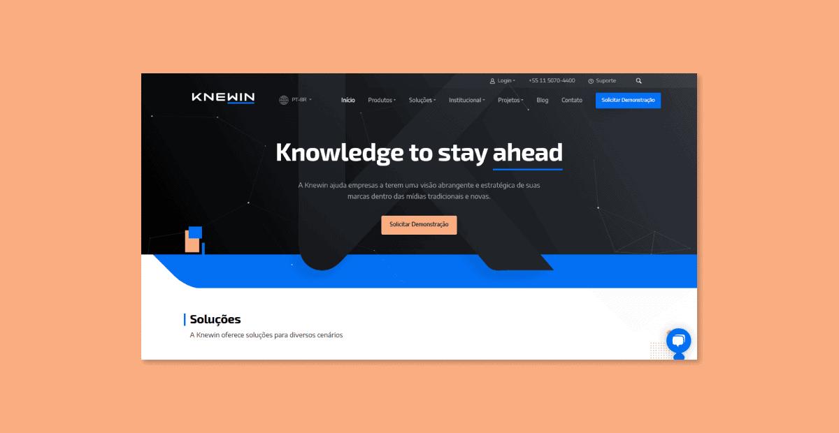 Captura de tela do topo da página home do site da Knewin.