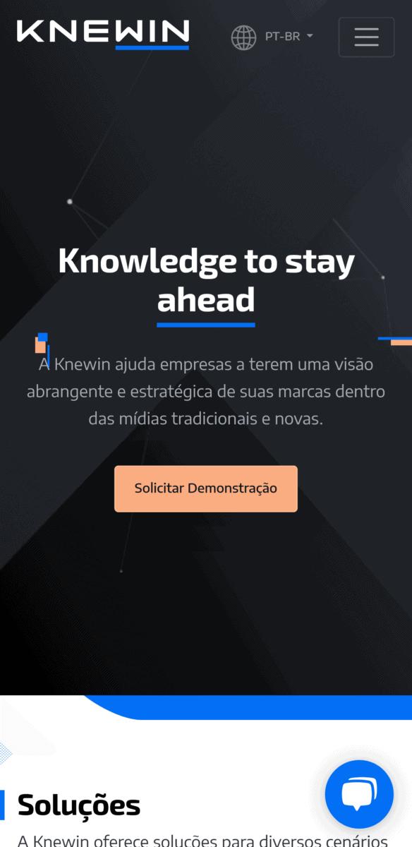 Captura de tela em formato mobile da página home no site da Knewin.