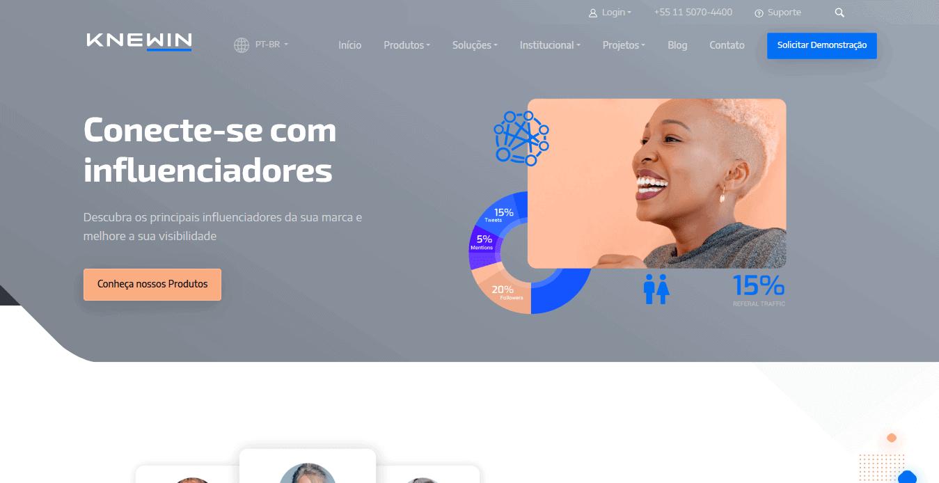 Captura de tela em formato mobile da página de produtos no site da Knewin.