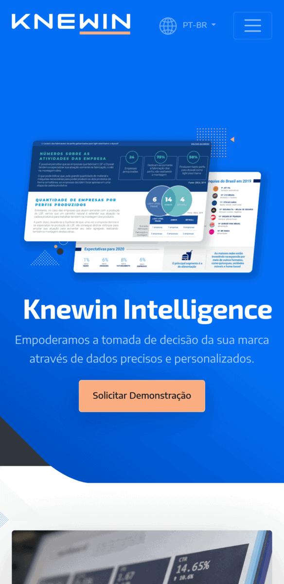 Captura de tela em formato mobile da área de serviços do site da Knewin.