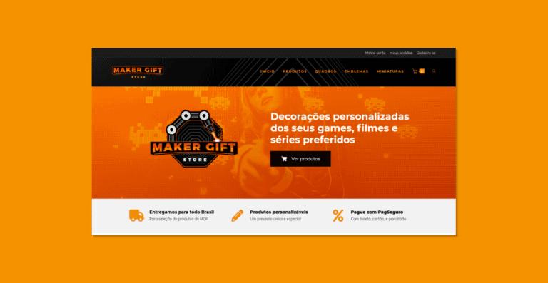 Captura de tela do topo da página home do site da Maker Gift.