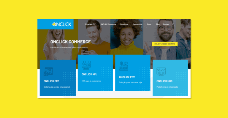 Captura de tela do topo da página home do site da OnClick.