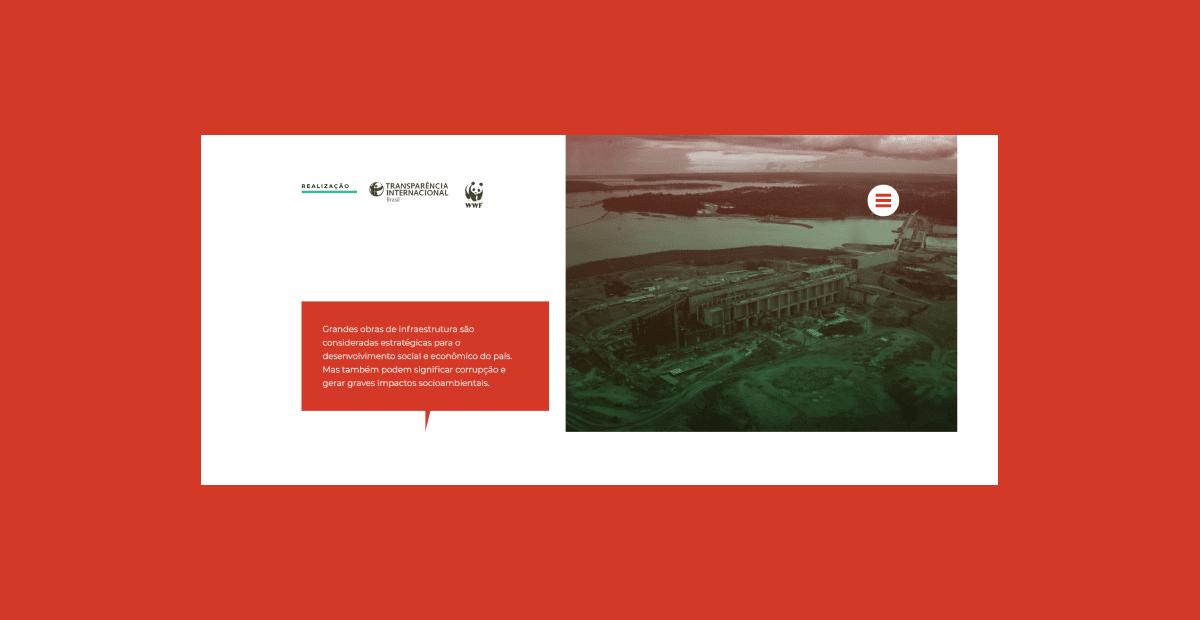 Captura de tela da página inicial do site Amazônia sem corrupção destacada em um fundo vermelho