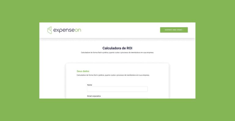 Captura de tela da página inicial da Calculadora de ROI da ExpenseOn destacada em um fundo verde