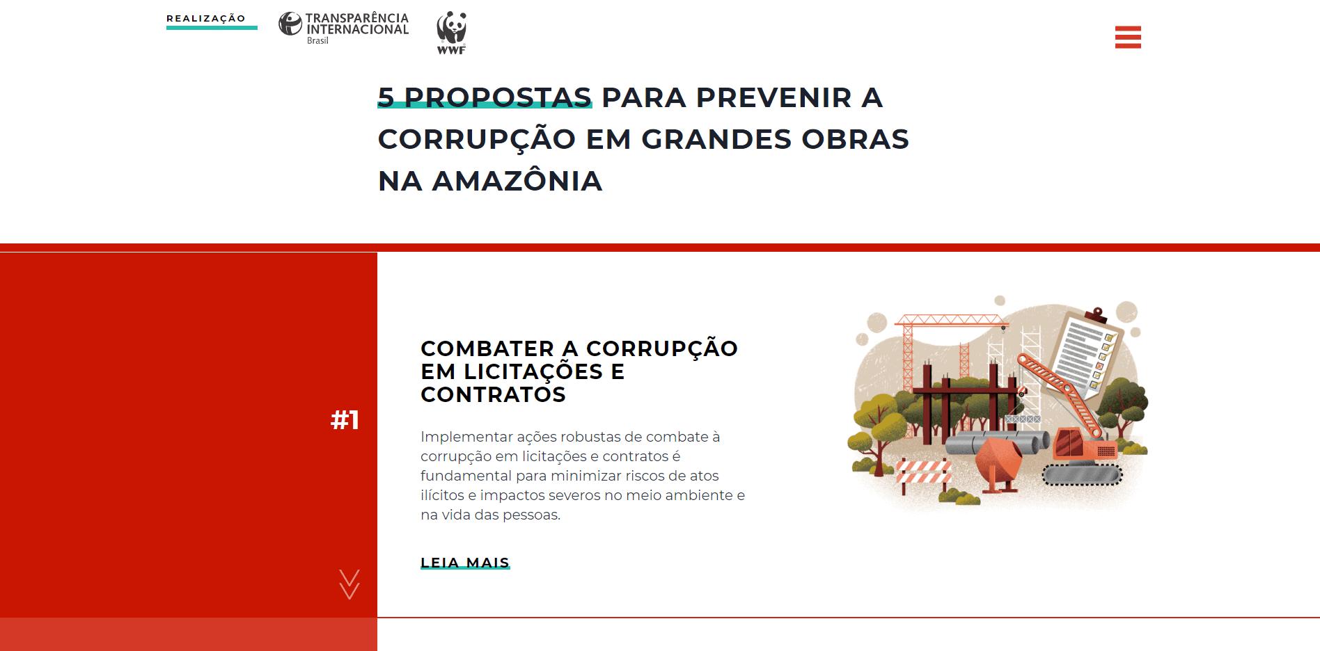 Captura de tela da área de propostas na tela inicial do site Amazônia sem Corrupção.