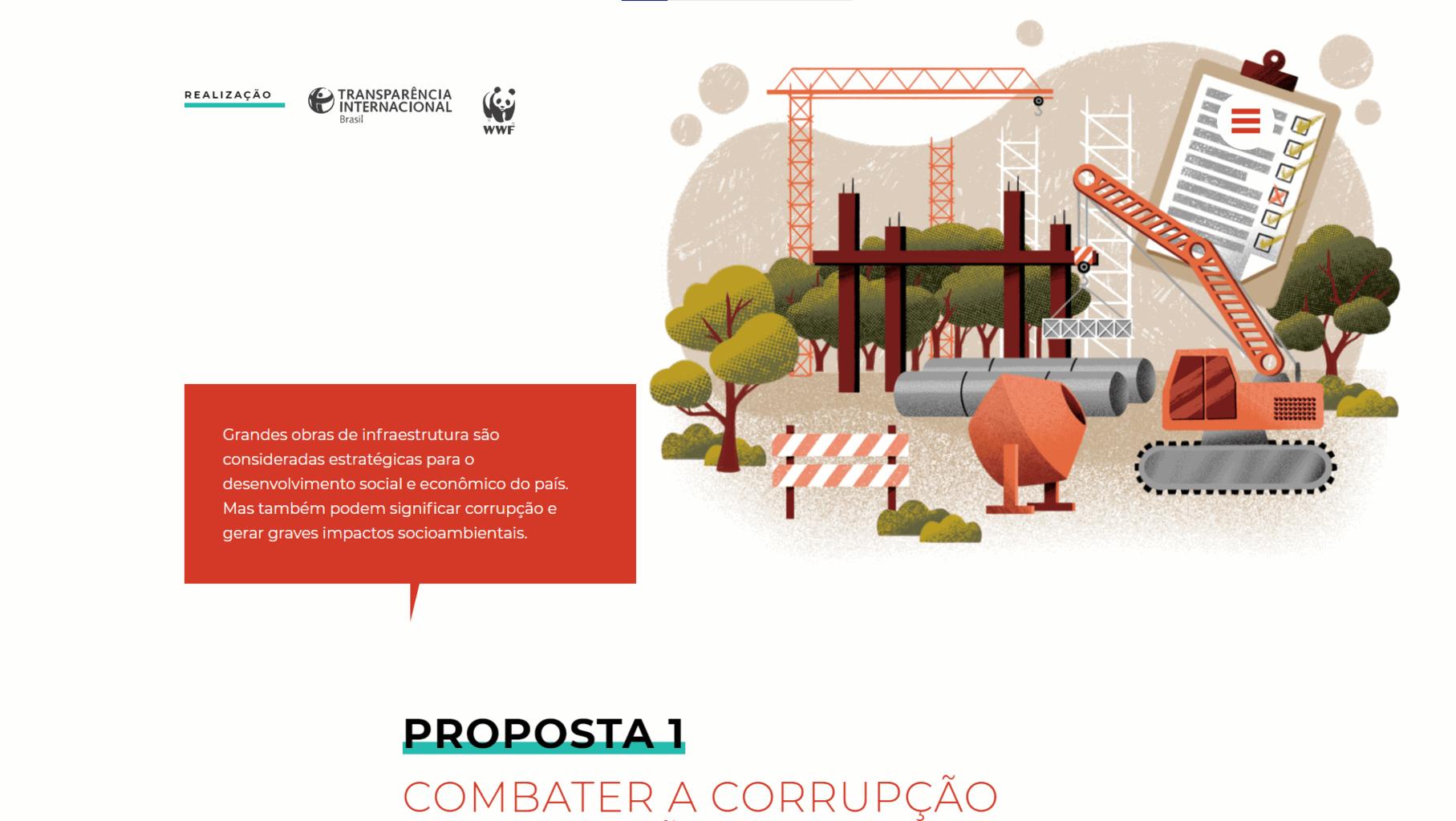 Captura de tela da página de propostas do site Amazônia sem Corrupção.