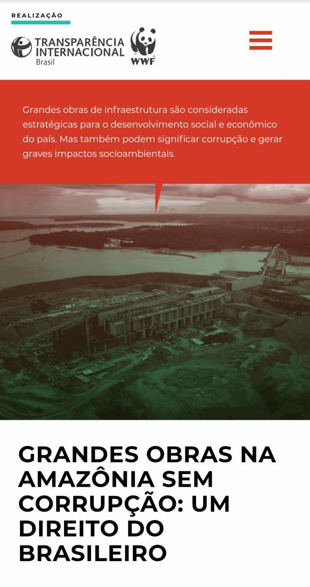 Captura de tela em versão mobile da página inicial do site Amazônia sem corrupção