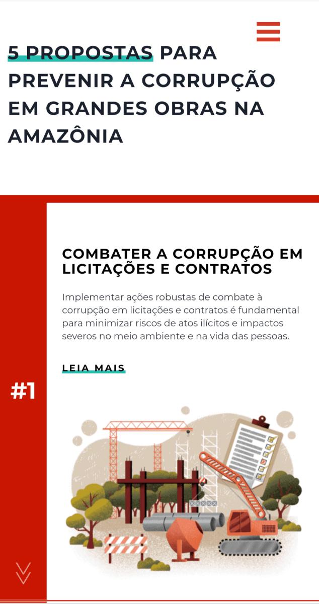 Captura de tela em versão mobile da área de propostas na tela inicial do site Amazônia sem Corrupção.