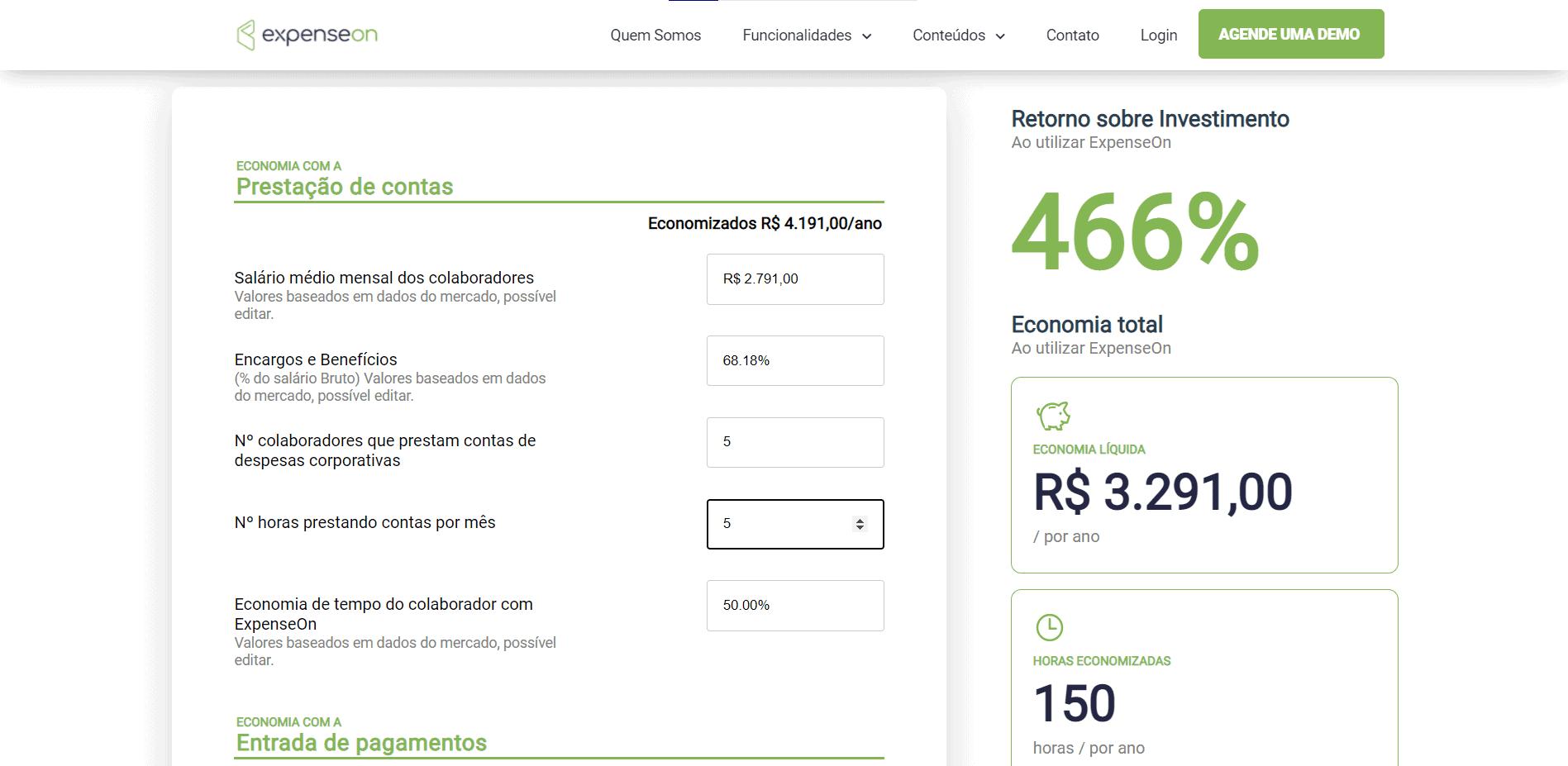 Captura de tela da página de cálculos da Calculadora de ROI da ExpenseOn