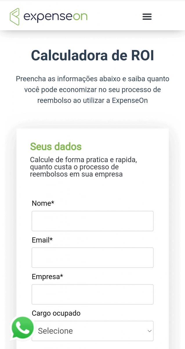 Captura de tela na versão mobile da página inicial da Calculadora de ROI da ExpenseOn