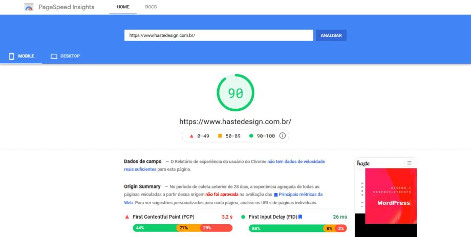 Captura de tela da análise dos Core Web Vitals no PageSpeed.