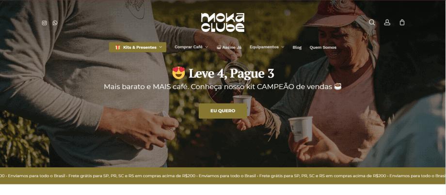 Captura de tela do site do Moka Clube, loja feita com WooCommerce.